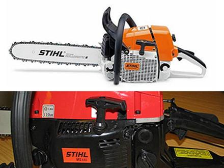 """Πάνω: Γνήσιο STIHL MS 440 Κάτω: Απομίμηση με ετικέτες """"STIHL MS 440"""" αλλά χωρίς το χαρακτηριστικό χρώμα STIHL"""