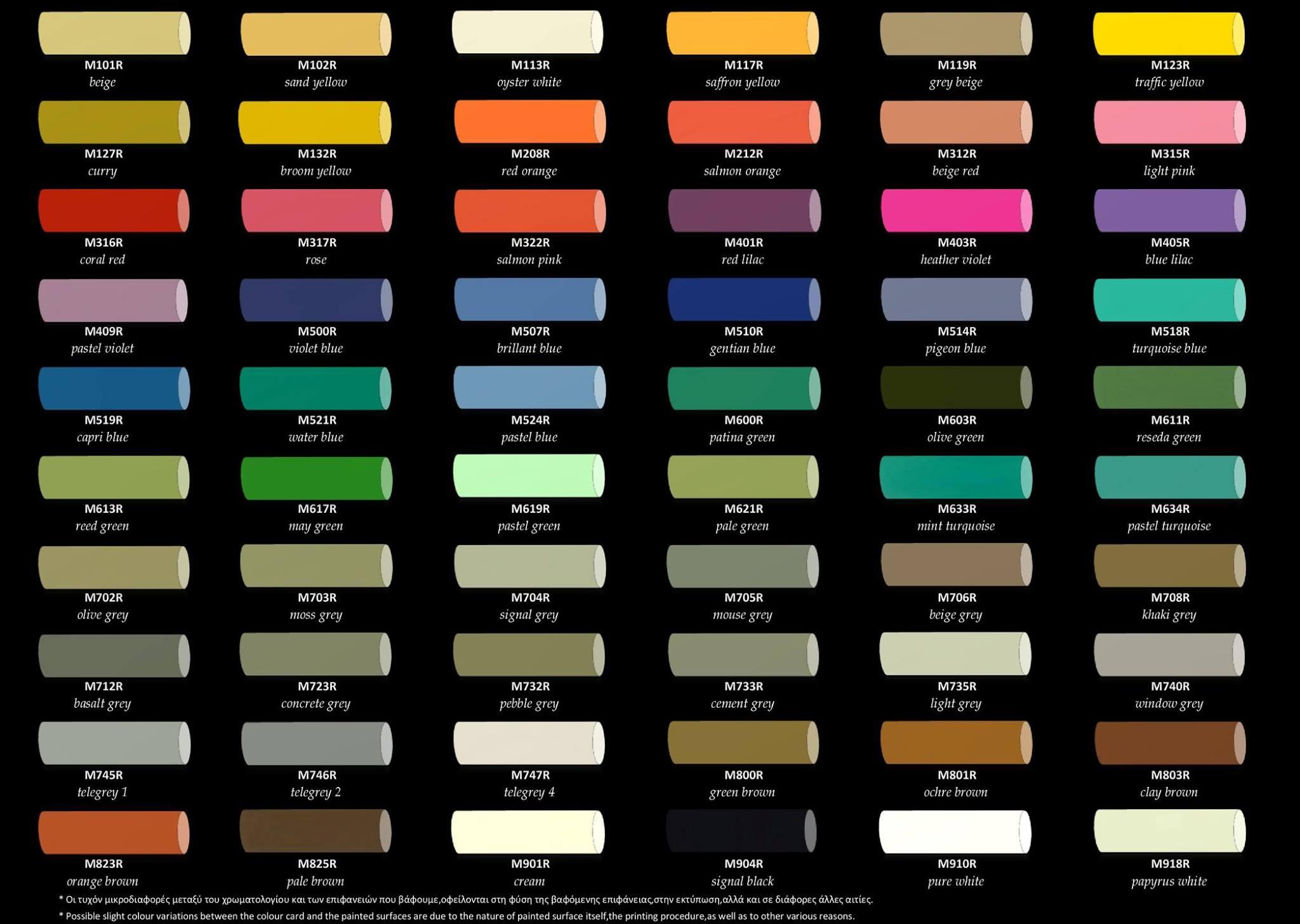 Χρώματα κιμωλίας χρωματολόγιο